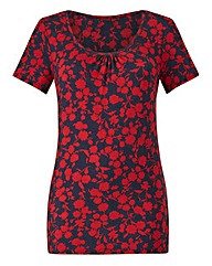 Red Floral Print Jersey Round Neck Top
