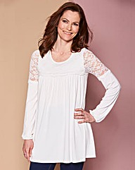 Ivory Lace Yoke Swing Top