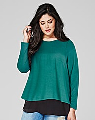 Dark Green Split Back Chiffon Top