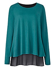 Split Back Chiffon Insert Top