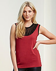 Red Pleat Yoke Top