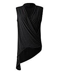 Black Drape Wrap Top