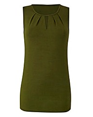 Khaki Pleat Neck Vest