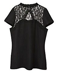 Black Textured Top with Lace Trim