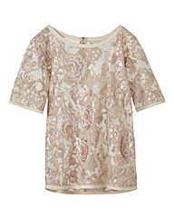 Nude/Pink Sequin Shell Top