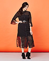 Simply Be Lace Insert Maxi Shirt Dress