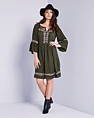 Simply Be Embroidered Bell Sleeve Dress