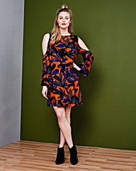 Simply Be Print Cold Shoulder Dress