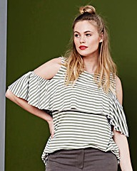 Simply Be Stripe Frill Top