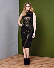 Simply Be Metallic Twist Side Midi Dress