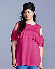 Simply Be Cold Shoulder Frill Top