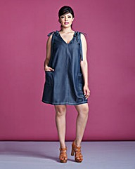 Simply Be Tie Shoulder Denim Dress