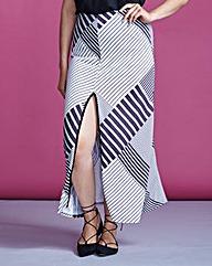 Simply Be Stripe Split Skirt