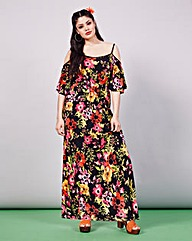 Simply Be Cold Shoulder Print Maxi Dress