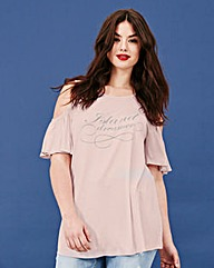 Simply Be Slogan Ruffle Jersey Top