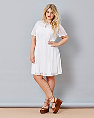Simply Be Dobby Dress with Tassels