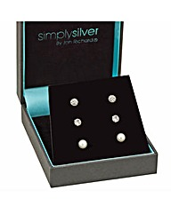 Simply Silver Round Trio Earring Set