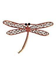 Crystal Dragonfly Brooch