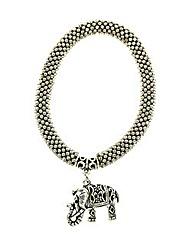 Popcorn chain elephant charm bracelet