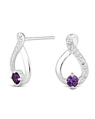 Simlpy Silver Purple Loop Earring