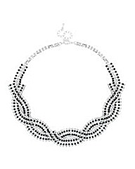 Jon Richard Jet Diamante Plait Necklace