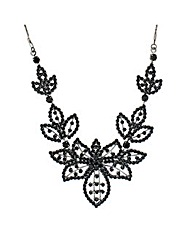 Jon Richard Jet Diamante Flower Necklace