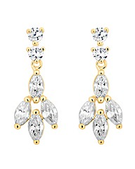 Jon Richard Cubic Zirconia Leaf Earring