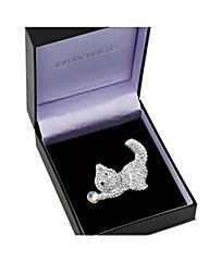 Jon Richard Crystal Cat With Ball Brooch