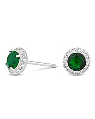 Simply Silver Round Green Stud Earring