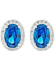 Simply Silver Blue Oval Stud Earring