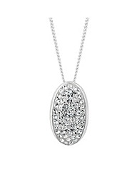 Simply Silver Oval Domed Pave Pendant