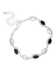 Jet and crystal navette zig zag bracelet