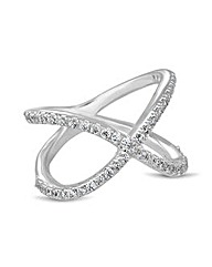 Simply Silver Cubic Zirconia Cross Ring