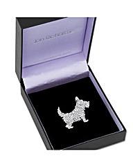 Jon Richard Crystal Scotty Dog Brooch