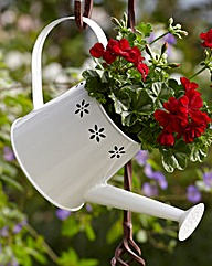 White Flower Watering Can Planter
