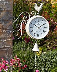 Dual Sided Cream Garden Clock