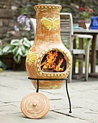 Hand Painted Butterfly Clay Chiminea