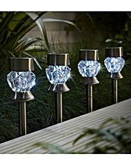 Four Crystal Stainless Steel Lights