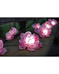 Set of Ten Pink Flower String Lights