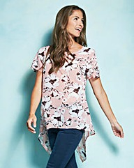 Pink Print Dip Back Shell Top