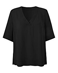 Black V-Neck Split Side Top