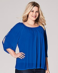 Cobalt Cold Shoulder Gypsy Top