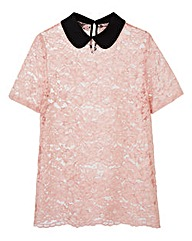 Blush Contrast Collar Lace Top