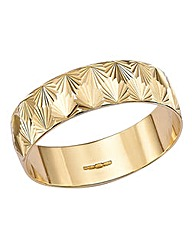 9 Carat Gold Diamond Cut Wedding Band