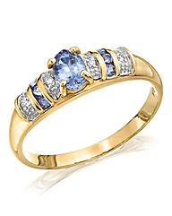 9 Carat Gold Tanzanite and Diamond Ring