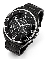 Police Multi-Dial Black Strap Watch