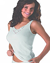 Naturana White Motif Cotton Top