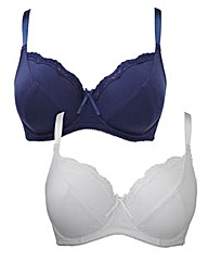 2 Pack Full Cup Wired Navy White Bras