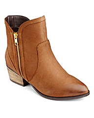 Sole Diva Zip Cowboy Ankle Boots EEE Fit