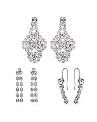 Mood silver diamante drop earring set